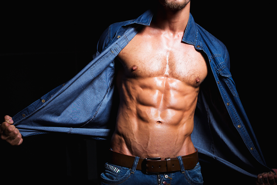 Muscular And Sexy Body Of Young Man In Jeans Shirt
