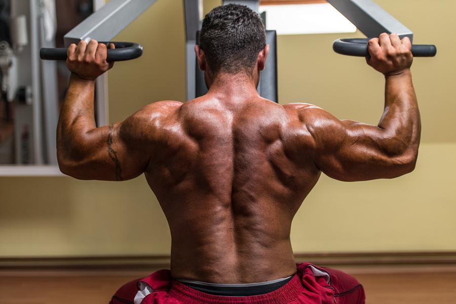 Shirtless Body Builder Doing Military Press For Shoulder